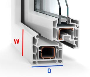 szerokość i głębokość okna